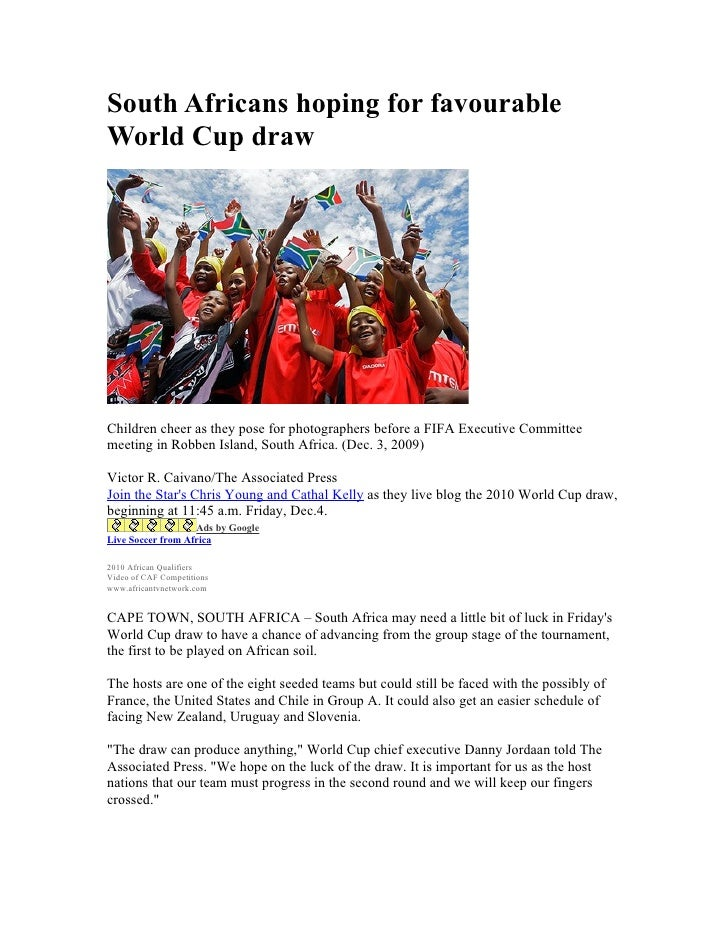 South Africans hoping for favourable World Cup draw     Children cheer as they pose for photographers before a FIFA Execut...