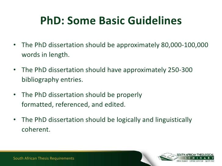 phd dissertation length