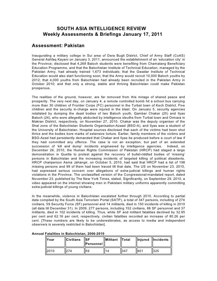 SOUTH ASIA INTELLIGENCE REVIEW       Weekly Assessments & Briefings January 17, 2011Assessment: PakistanInaugurating a mil...