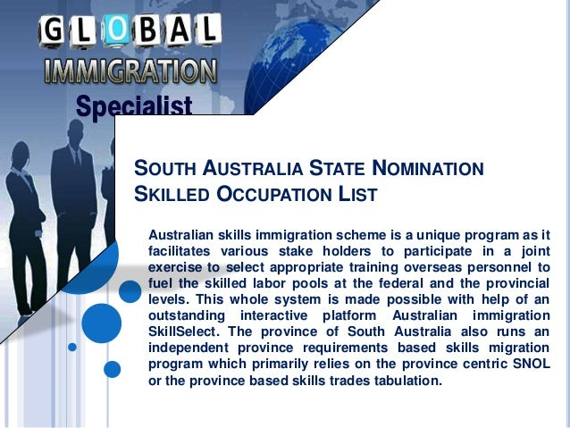 South australia state nomination skilled occupation list
