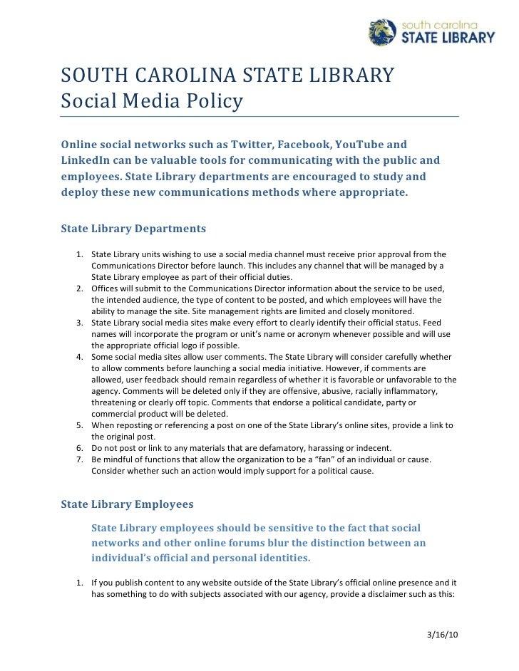 South carolina state library social media policy final