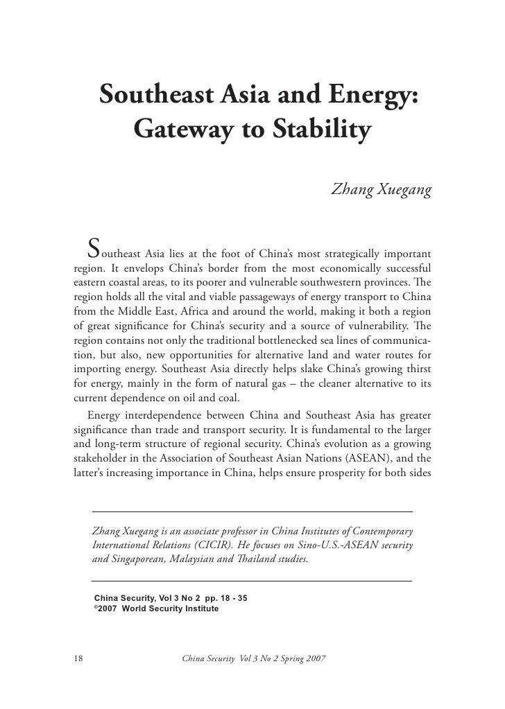 Southeast Asia and Energy:        Gateway to Stability                                                                  Zh...