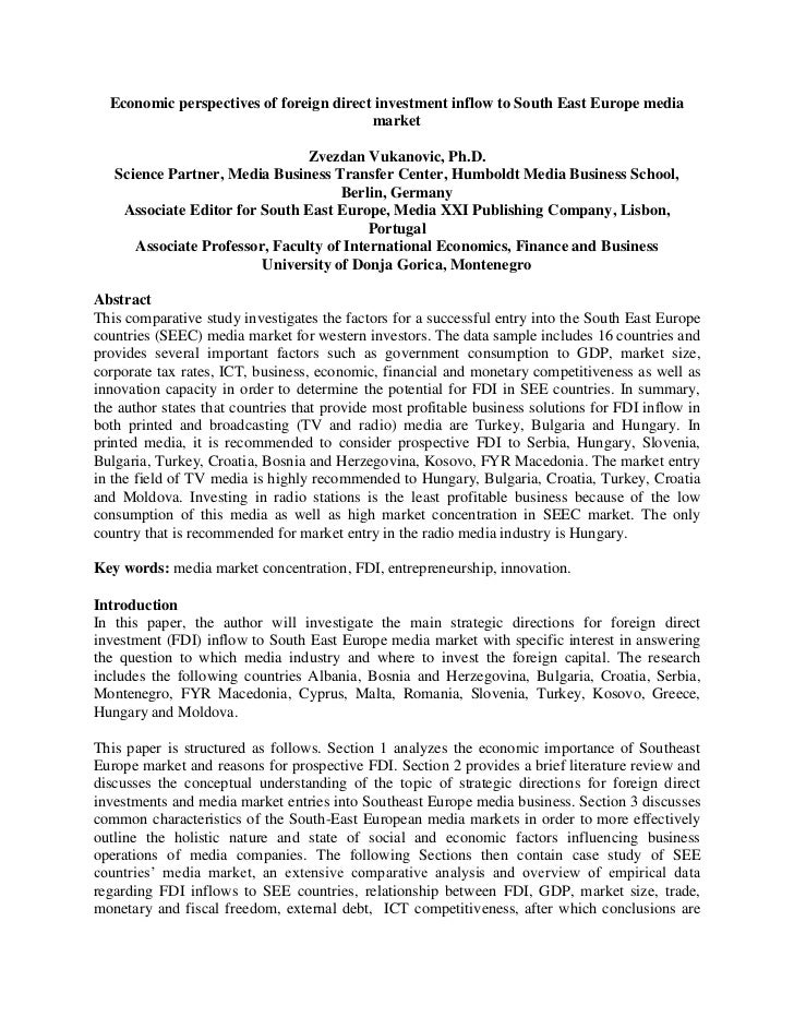 Economic perspectives of foreign direct investment inflow to South East Europe media                                      ...