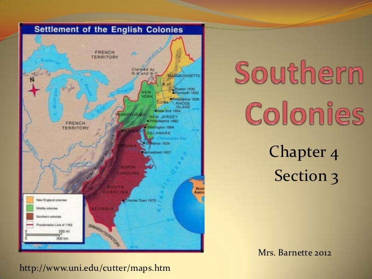 Southern colonies chapter 4.3