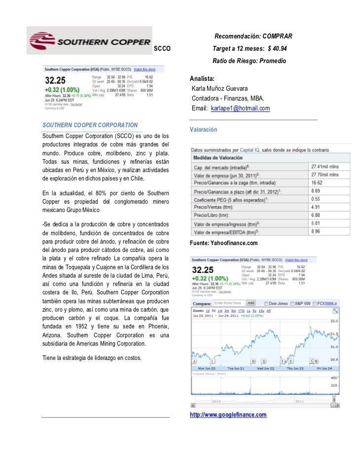 Recomendación: COMPRAR                                              SCCO             Target a 12 meses: $ 40.94           ...