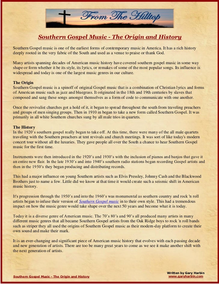 Southern Gospel Music - The Origin and History