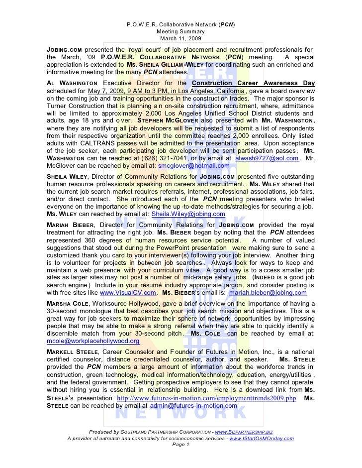 P.O.W.E.R. Collaborative Network (PCN)                                         Meeting Summary                            ...