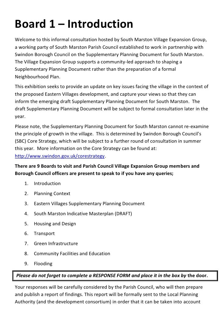 Board 1 – IntroductionWelcome to this informal consultation hosted by South Marston Village Expansion Group,a working part...