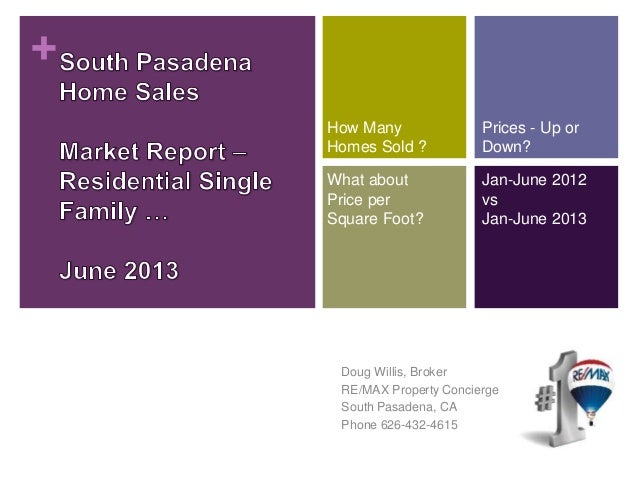+ Doug Willis, Broker RE/MAX Property Concierge South Pasadena, CA Phone 626-432-4615 How Many Homes Sold ? Prices - Up or...