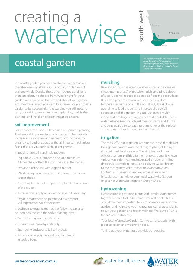 South West Australia: Creating A Waterwise Coastal Garden - Water Corporation