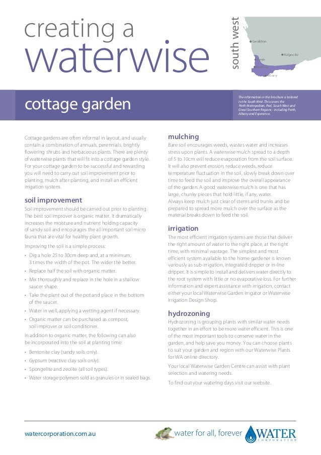 South West Australia: Creating A Waterwise Cottage Garden - Water Corporation