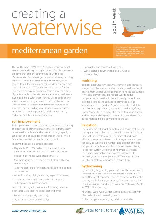 South West Australia: Creating A Waterwise Mediterranean Garden - Water Corporation