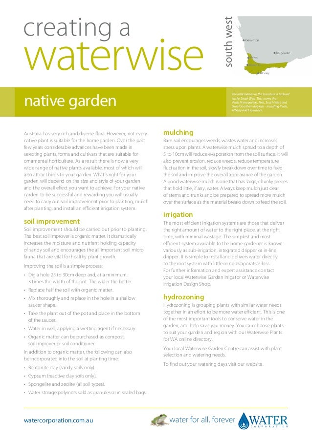 South West Australia: Creating A Waterwise Native Garden - Water Corporation