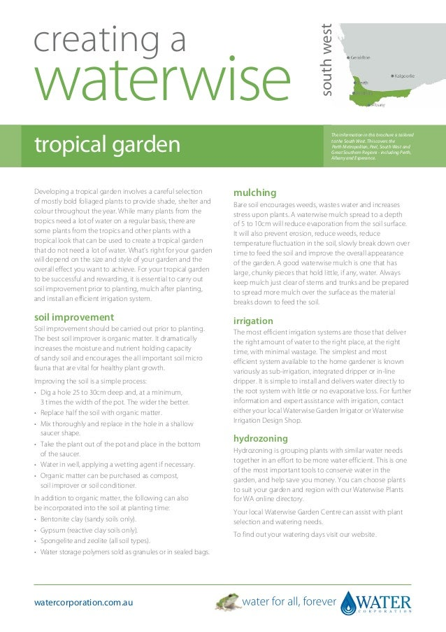 South West Australia: Creating A Waterwise Tropical Garden - Water Corporation