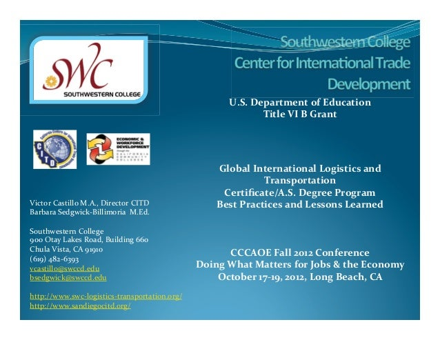 International Logistics and Transportation Program: Best Practices and  Lessons Learned
