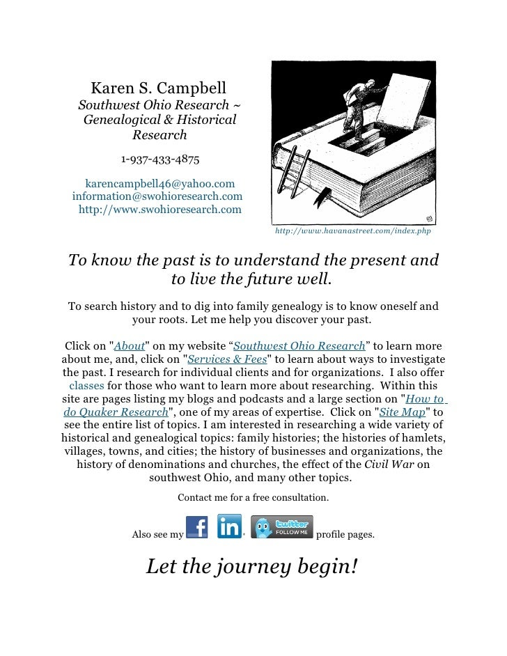 Karen S. Campbell    Southwest Ohio Research ~     Genealogical & Historical            Research             1-937-433-487...