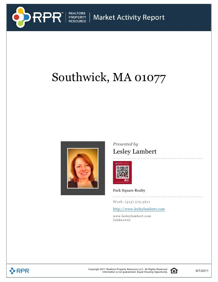 Southwick, MA 01077                                                      Presented by                             Lesley L...