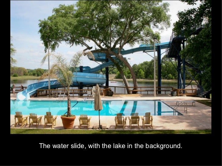 The water slide, with the lake in the background.