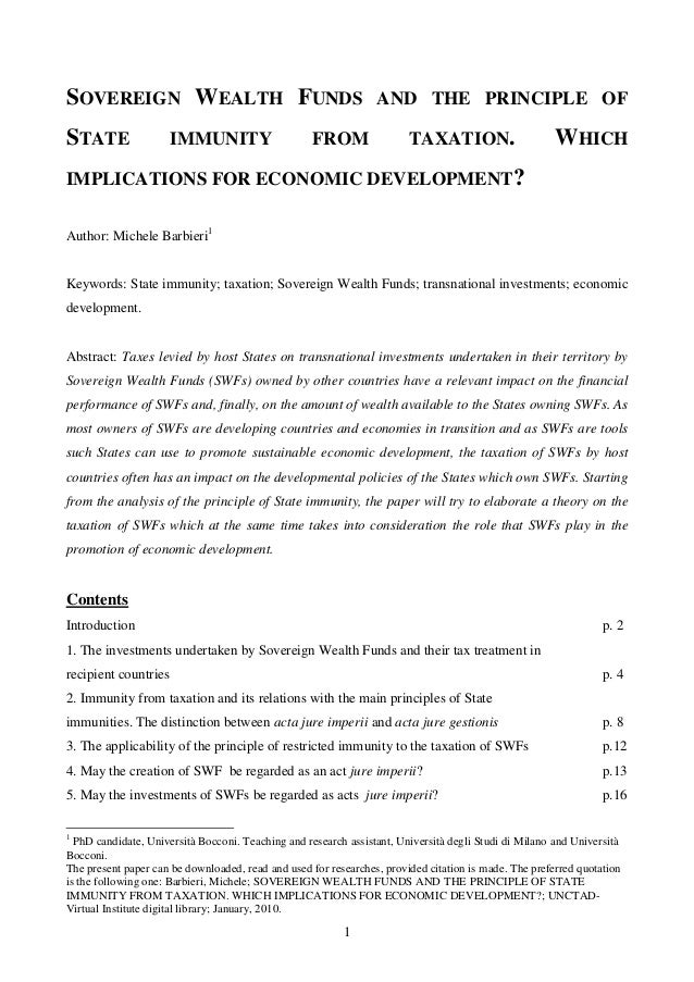 Sovereign wealth funds and the principle of state immunity from taxation. which implications for economic development
