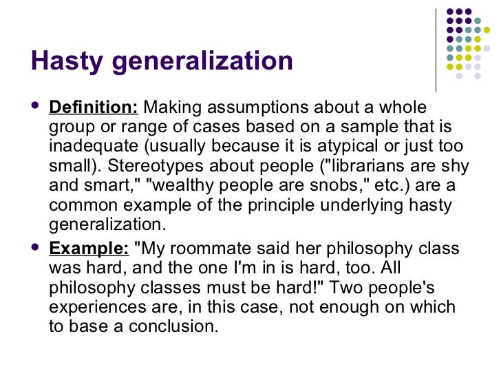 What does generalization mean?