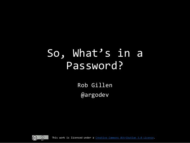 So whats in a password