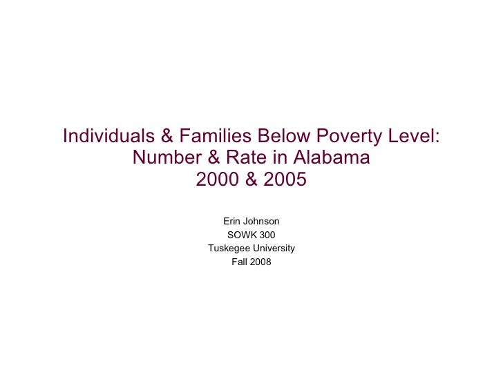 Individuals & Families Below Poverty Level: Number & Rate in Alabama 2000 & 2005 Erin Johnson SOWK 300 Tuskegee University...