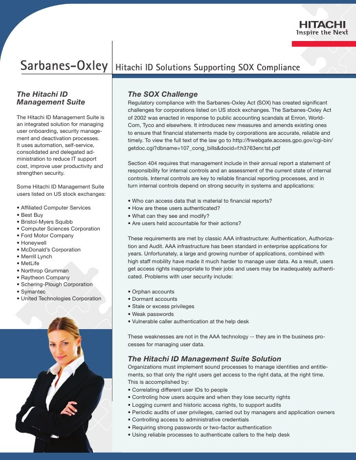 Sarbanes-Oxley                       Hitachi ID Solutions Supporting SOX ComplianceThe Hitachi ID                         ...