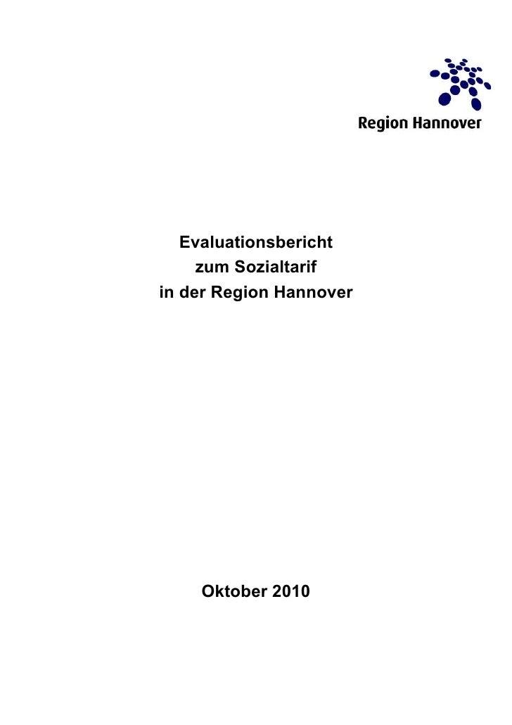 Evaluationsbericht     zum Sozialtarifin der Region Hannover    Oktober 2010