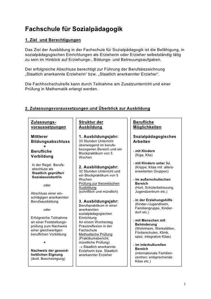 Fachschule für Sozialpädagogik 1. Ziel und Berechtigungen  Das Ziel der Ausbildung in der Fachschule für Sozialpädagogik i...
