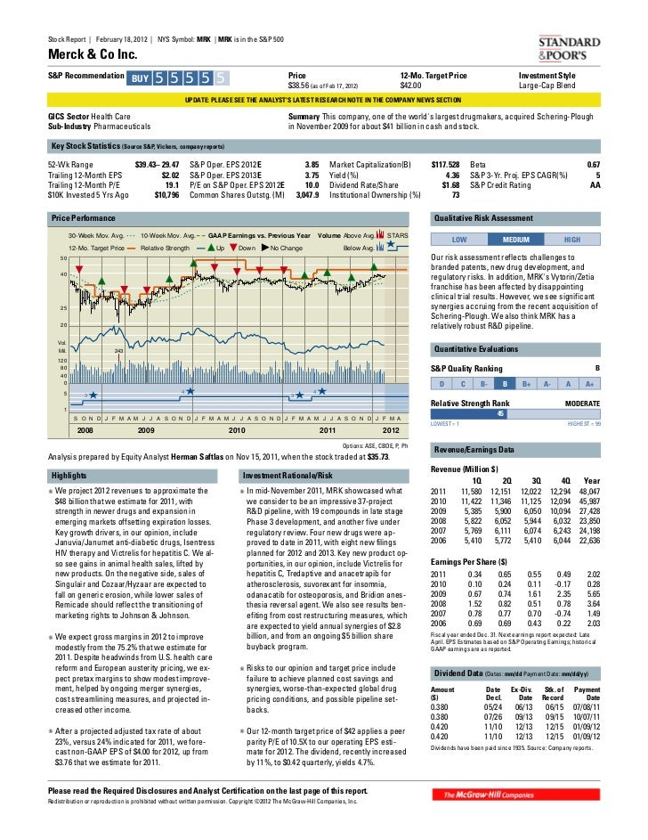 Stock Report | February 18, 2012 | NYS Symbol: MRK | MRK is in the S&P 500Merck & Co Inc.S&P Recommendation BUY           ...