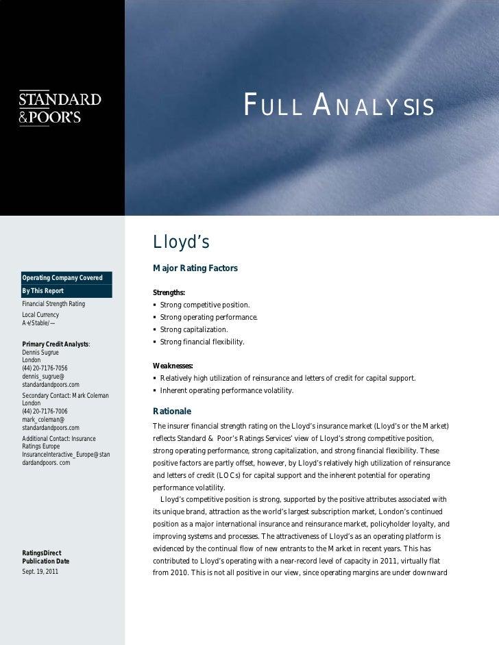 S&P : Lloyd's report september 2011