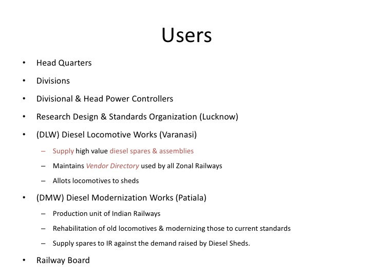Users<br />Head Quarters<br />Divisions<br />Divisional & Head Power Controllers<br />Research Design & Standards Organiza...