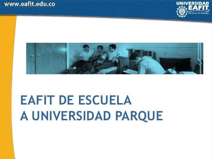 EAFIT DE ESCUELA<br />A UNIVERSIDAD PARQUE<br />