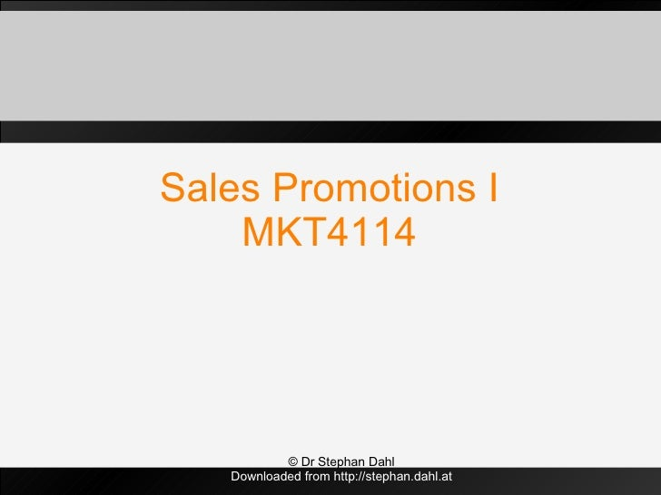 Sales Promotions I MKT4114