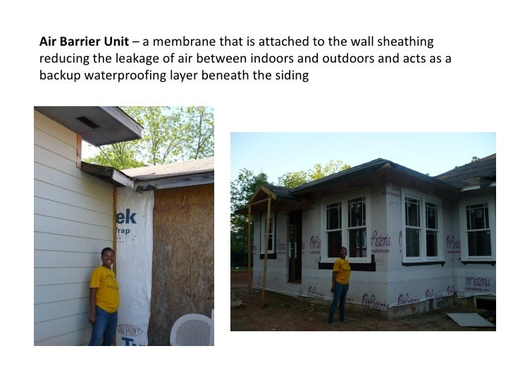 Air Barrier Unit – a membrane that is attached to the wall sheathing reducing the leakage of air between indoors and outdo...