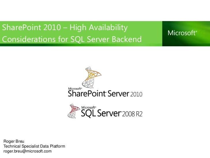 Sp2010 high availlability_sql