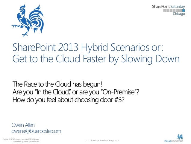 SharePoint 2013 Hybrid Scenarios or: Get to the Cloud Faster by Slowing Down  Owen Allen owena@bluerooster.com Twitter: @S...