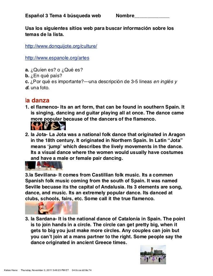 Español 3 Tema 4 búsqueda web                               Nombre_____________                 Usa los siguientes sitios ...