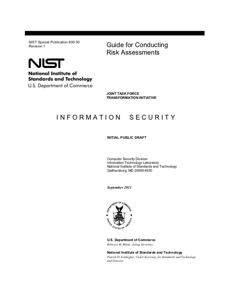 NIST Special Publication 800-30Revision 1                        Guide for Conducting                                  Ris...