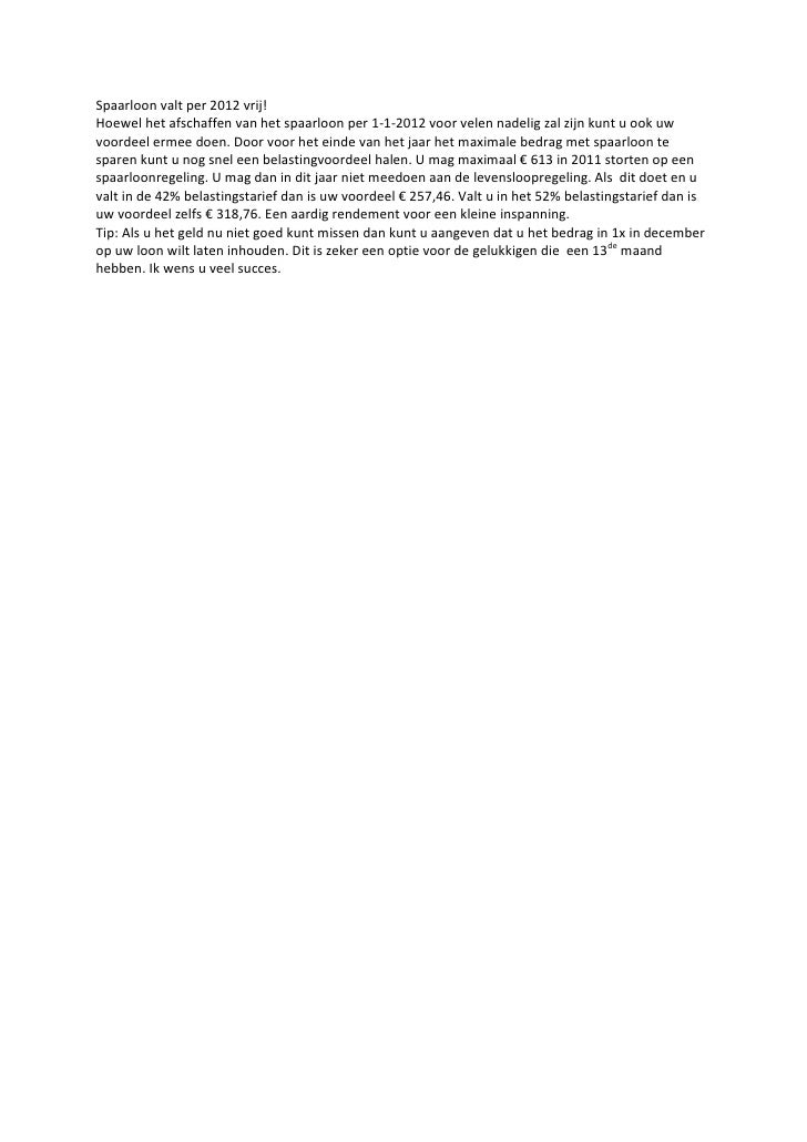 Spaarloon Valt Per 2012 Vrij