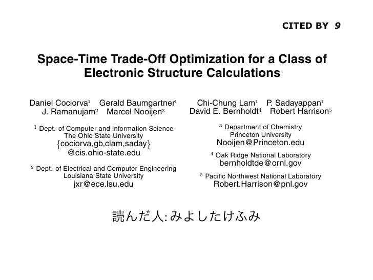 CITED BY 9               Space-Time Trade-Off Optimization for a Class of                    Electronic Structure Calculat...