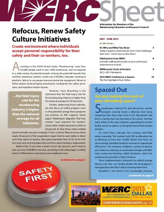Refocus, Renew Safety Culture Initiatives Create environment where individuals accept personal responsibility for their sa...