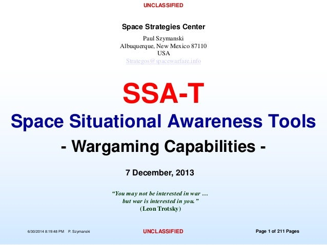 Space policy theoretical space wargame software-unclassified