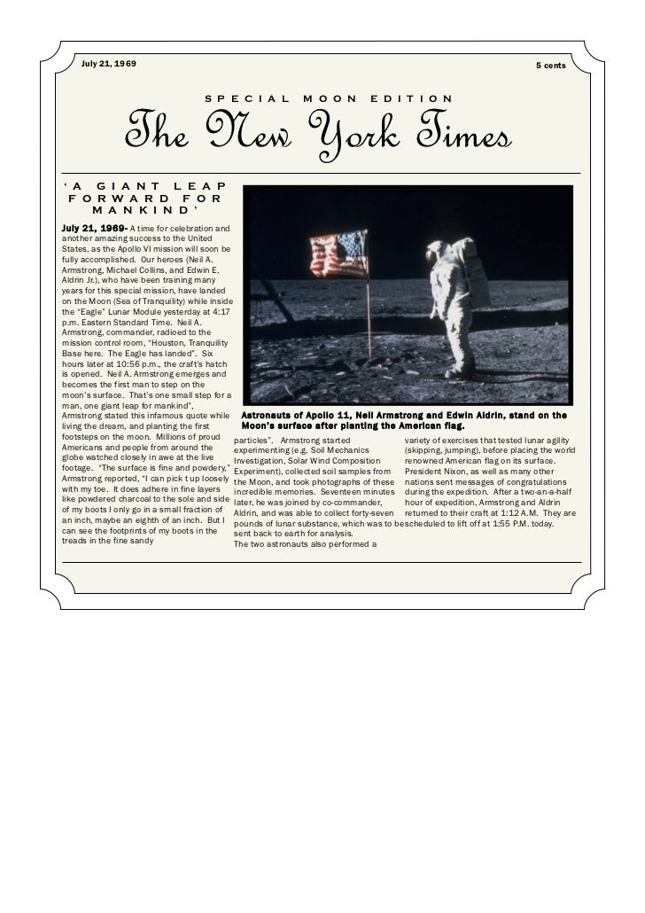 Space Race Newspaper Article