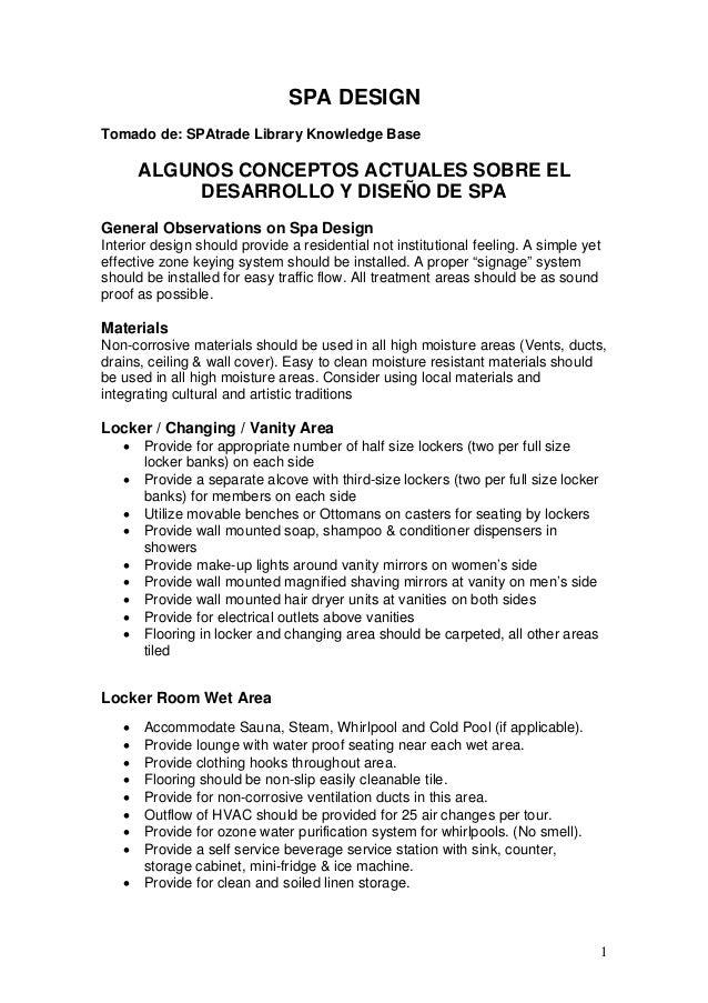 SPA DESIGN Tomado de: SPAtrade Library Knowledge Base ALGUNOS CONCEPTOS ACTUALES SOBRE EL DESARROLLO Y DISEÑO DE SPA Gener...