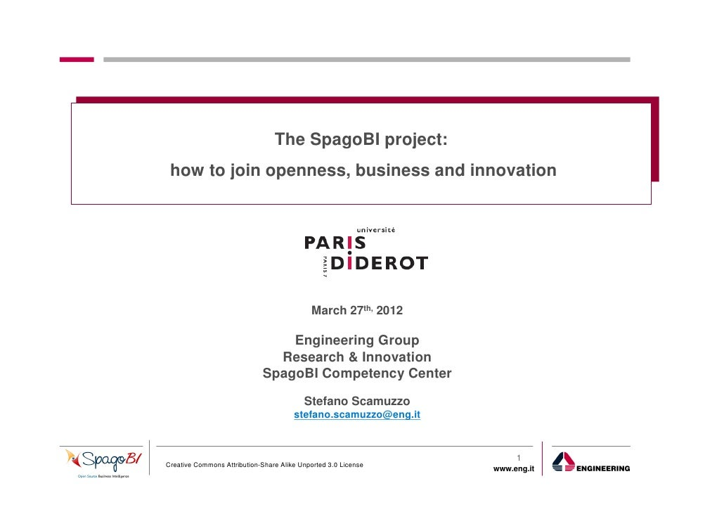 The SpagoBI project: how to join openness, business and innovation