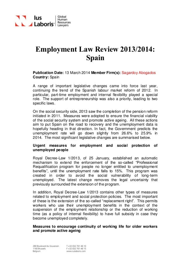 Employment Law Review 2013/2014: Spain Publication Date: 13 March 2014 Member Firm(s): Sagardoy Abogados Country: Spain A ...