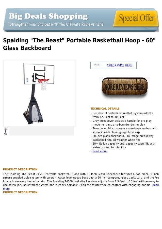 Spalding  the beast  portable basketball hoop   60  glass backboard