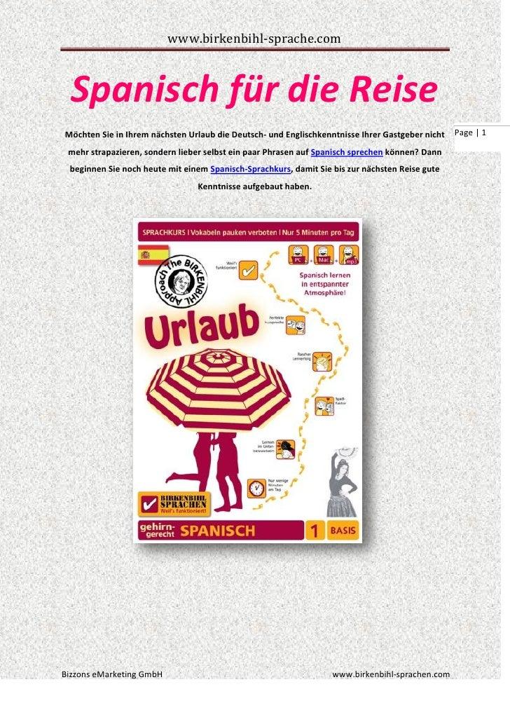 www.birkenbihl-sprache.com  Spanisch für die ReiseMöchten Sie in Ihrem nächsten Urlaub die Deutsch- und Englischkenntnisse...