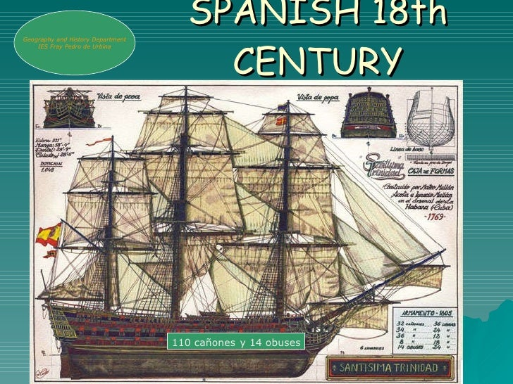 SPANISH 18th CENTURY 110 cañones   y 14 obuses Geogr a phy and History Department IES Fray Pedro de Urbina